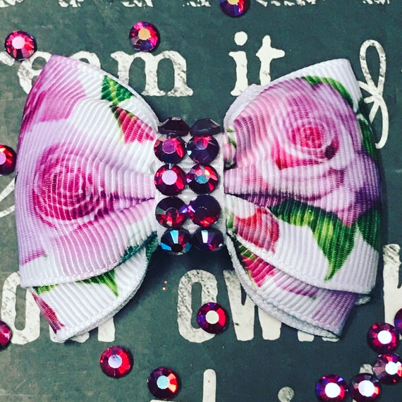 """Bows for Dogs or Girls - 2"""" Fuchsia Floral and Rhinestone Mini Bow - Dog Bows - Summer Bows - Bows for Girls - Floral Print Bows"""