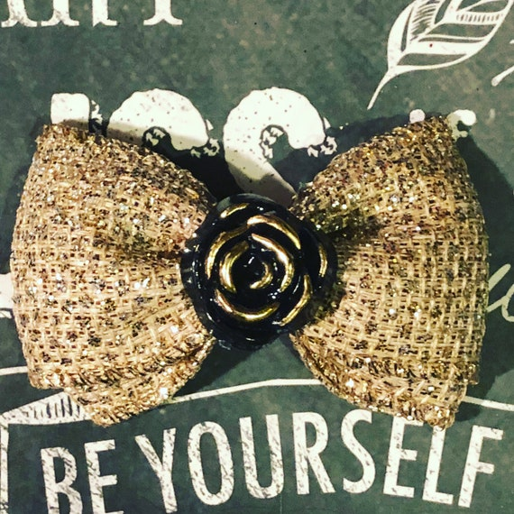 "2"" Gold Sparkle Burlap Mini Bow with Beautiful Black Rose- Dog Bows - Bows for Girls - Bows with Flower"