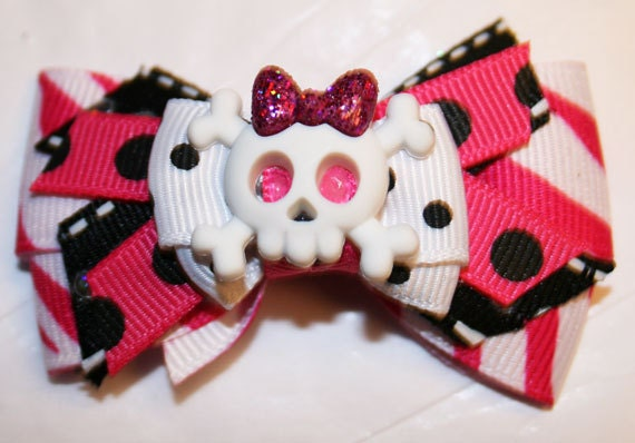 """2 1/2"""" Mini Girly Skull Dog Bowtique Bow - Dog Bow - Bows for Girls - Pink Bows - Bows with Skulls"""
