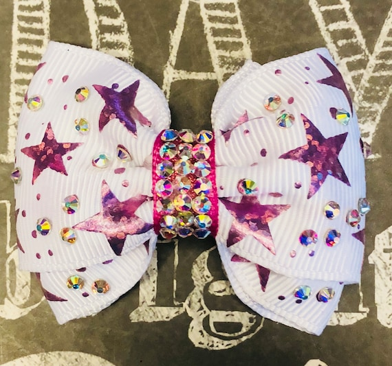 "2"" Pink Foil Star Mini Bow with Brilliant AB Crystals- Dog Bows - Dog Hair Bows - Bows for Dogs - Bows for Girls - Bling Bows - Small Bows"