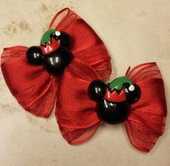 "2"" Mini Bow Set - Mickey INSPIRED Elf Christmas bows - Mickey Mouse Holiday Bows - Dog Bows - Christmas Bows - Elf Bows - Disney Christmas"