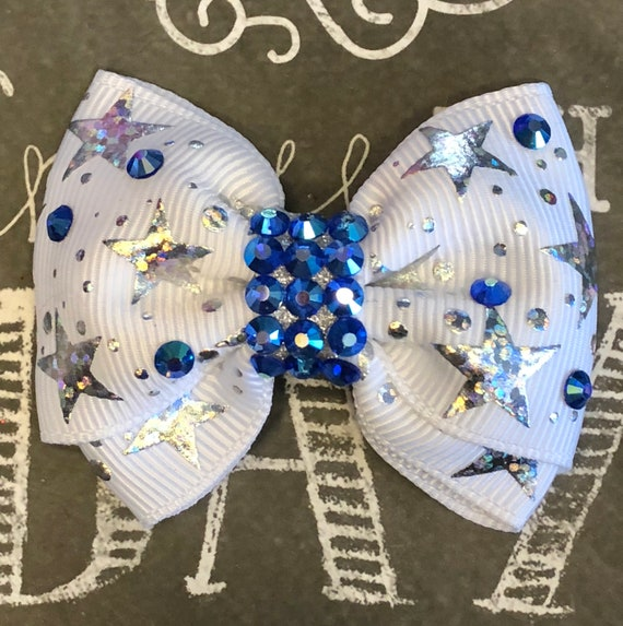 "2"" Silver Foil Star Mini Bow with Blue Crystals- Dog Bows - Dog Hair Bows - Bows for Dogs - Bows for Girls - Bling Bows - Small Bows - Stars"