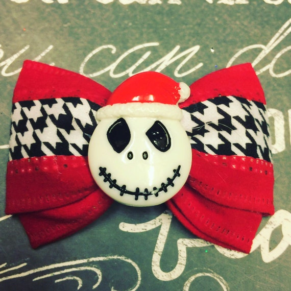 """Bows for Dogs or Girls - 2"""" Nightmare Before Christmas Mini Bow - Dog Bows - Christmas Bows - Jack Skellington - Bows - Bows for Girls"""