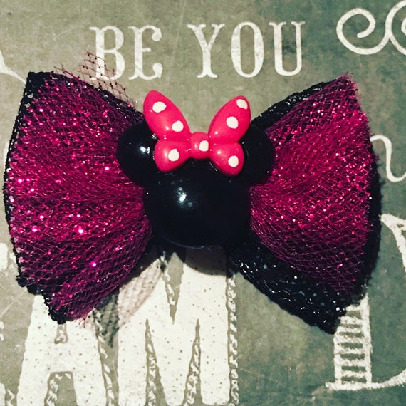 """Pink Sparkle 2"""" Minnie Mouse Mini Bow -  Birthday Bows - Dog Bows - Bows for Girls - Disney Bows - Small Dog Bows - Pink Sparkle - Birthday"""