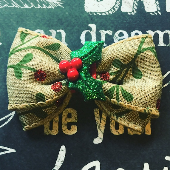 "Bows for Dogs or Girls - 2"" Holiday Holly Mini Bow - Holly - Holiday Bows - Dog Bows - Christmas Bows - Burlap - Bows - Bows for Girls"