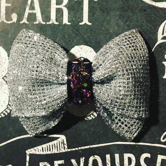 "2"" Silver Sparkly Mini Bow with Burgandy Crystals - Dog Bows - Bows with Crystals - Bows for Girls - Silver Bows - Bows for Dogs"