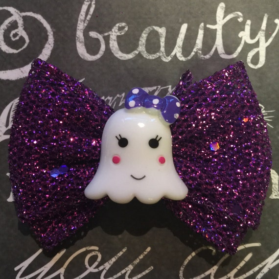 "2"" Purple Sparkly Girly Ghost Mini Bow"
