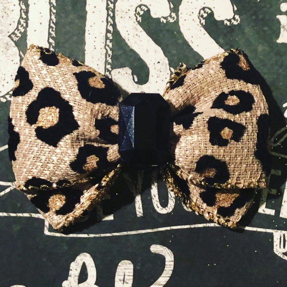 "2"" Leopard Print with Gold Sparkle Mini Bow- Dog Bows - Bows for Dogs  - Leopard Print Holiday Bow - Sparkly Bows - Hair Bowd for Dogs"
