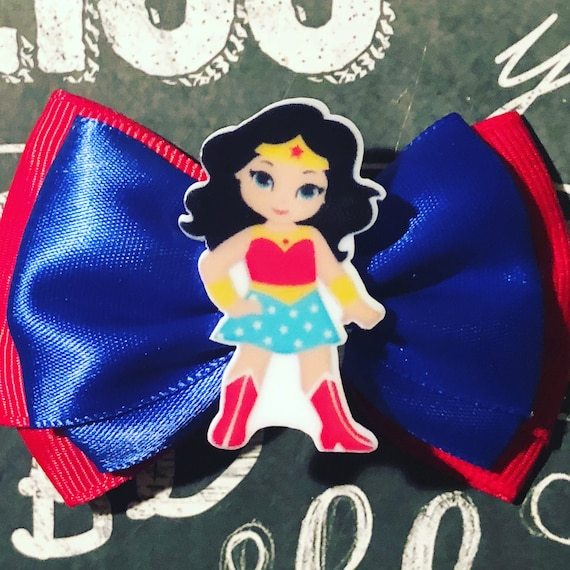 "2"" Red/Blue Double Layer Wonder Woman Mini Bow- Dog Bows - Bows for Dogs  - Holiday Bows - Hair Bows for Dogs - Red Bows - Super Hero Bows"