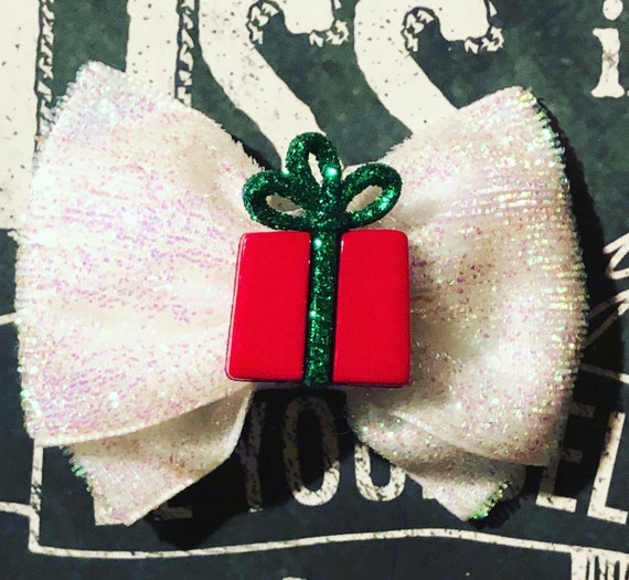 "2"" Christmas Present Mini Bow - Bows for Dogs - White Bows - Christmas Tree Bow  - Holiday Bows - Dog Bows - Bows - Velvet Bows"