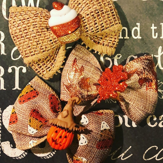 "2"" Fall Mini Bows with Sparkly Centers - Dog Bows - Fall Bows - Bows for Girls - Bows for Fall"