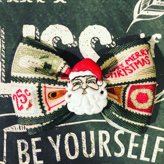 """2"""" Christmas Santa Postage Mini Bow - Christmas Dog Bow- Christmas Bows for Girls - Dog Bows - Holiday Bows - Christmas Bows - Dog Hair Bows"""