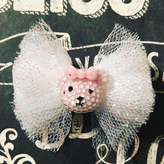 """2"""" Sparkly White Tulle Mini Bow with Bear for Dogs or Girls - Dog Bows - Tulle Bows - Bows for Dogs - Bear Bows"""