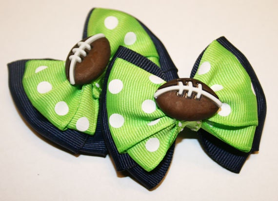 Set of two Seattle Seahawks Inspired Mini Bows