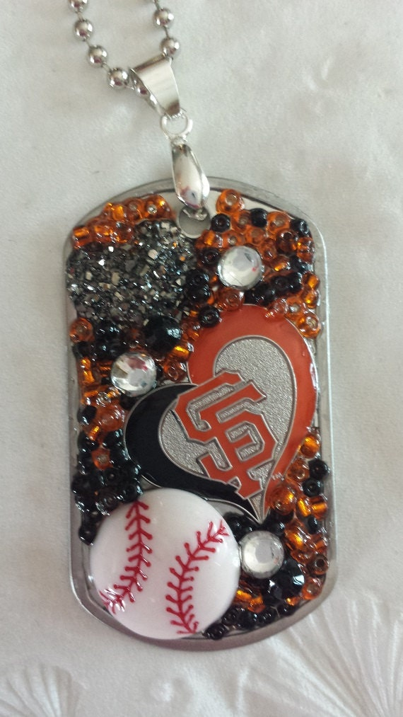 San Francisco Giants Inspired Bling Embellished Necklace - Baseball Team Jewelry - San Francisco Giants Jewelry