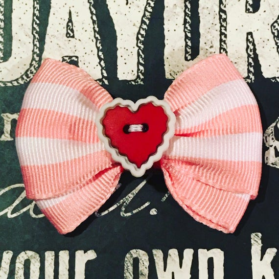 "2"" Pink Stripe Valentine Mini Bow - Valentine's Day - Dog Bows  - Bows for Girls - Baby Bows - Polka Dots - Hearts"