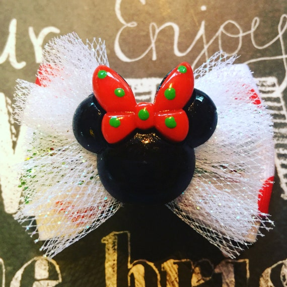 Holiday Minnie Mouse Mini Bow - Bows for Girls - Bows for Dogs - Christmas Mickey - Disney Bows - Christmas Bows