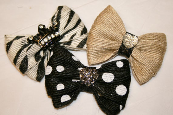 "Burlap 2"" or 1 1/2"" Mini Bows - Dog Bows - Bows for Dogs - Hair Bows for Dogs - Burlap Bows"