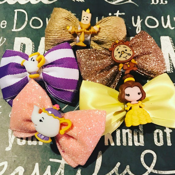 "2"" Beauty and the Beast Mini Bow Set  - Mini Bows - Bows for Girls - Dog Bows"