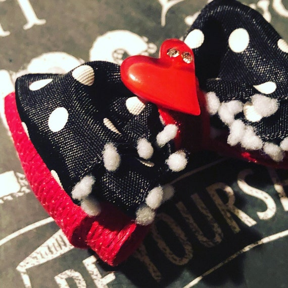 "2"" Red, Black, and White Heart Mini Bow- Dog Bows - Bows for Dogs  - Bows for Small Dogs - Bows for Girls - Polka Dot Bows"