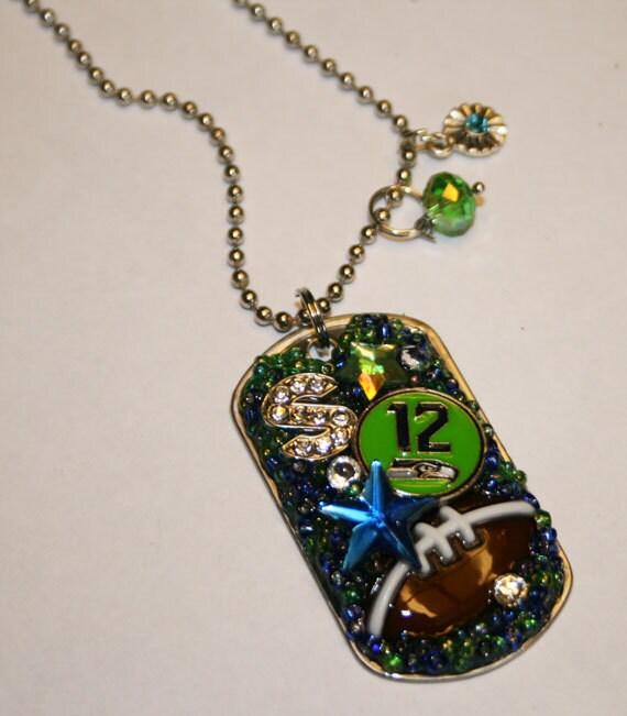 "Seahawks ""12"" Inspired Bling Embellished Necklace"