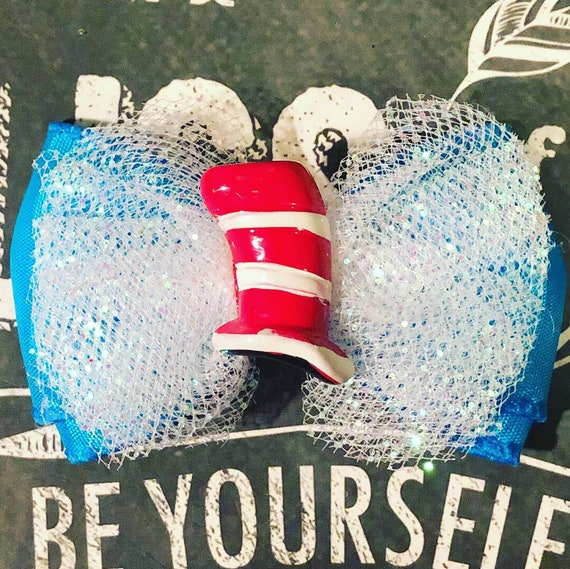 """2"""" Cat in the Hat Mini Bow - Dog Bows - Bows for Girls - Bows for Dogs - Car in the Hat Bows"""