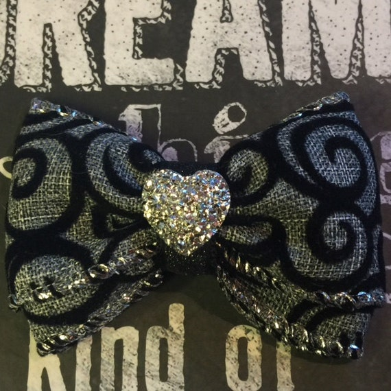 "Bows for Dogs and Girls - 2"" Mini - Grey Ribbon, Black Velvet Swirls, with Sparkling Silver Heart Center"