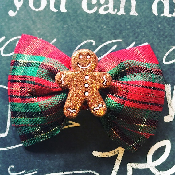 "2"" Gingerbread Man Mini Bow - Bows for Dogs - Plaid Bows - Christmas Plaid - Dog Bows - Holiday Bows - Bows - Christmas Bows - Red Plaid"