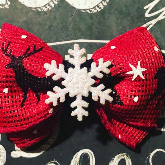 """2"""" Red with White Sparkly Snowflake Mini Bow- Dog Bows - Bows for Dogs  - Christmas Bows - Hair Bows for Dogs - Winter Bows - Snowflake Bows"""