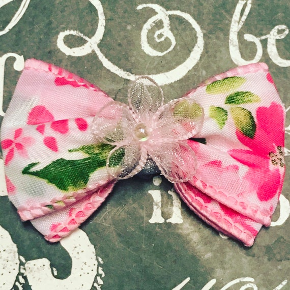 "2"" Spring Floral Mini Bow - Dog Bows - Easter Bows - Floral Print Bows - Bows for Girls - Flowers"