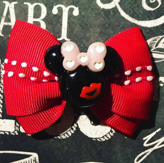 "2"" Valentine's Day Minnie Mouse Mini Bow -  Heart Bows - Dog Bows - Bows for Girls - Disney Bows - Small Dog Bows - Red Bows"