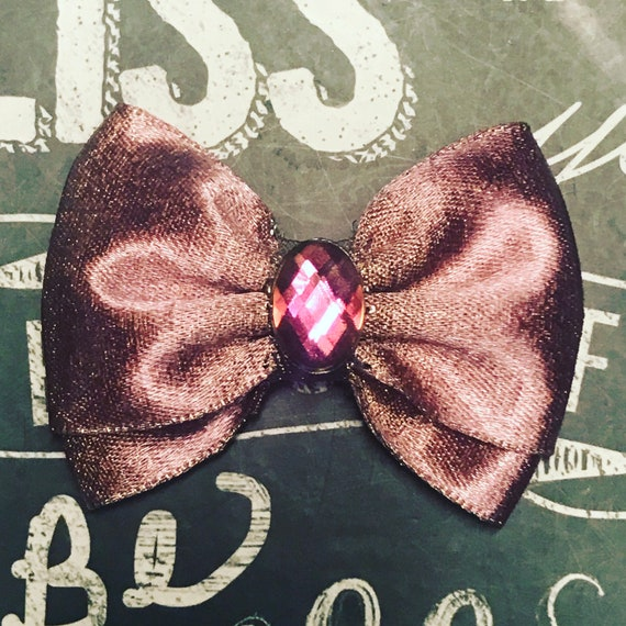 "2"" Rose Gold Mini Bow - Dog Bows - Bows for Girls - Sparkly Bows - Dog Hair Bows - Bows for Dogs - Rose Gold Bows"
