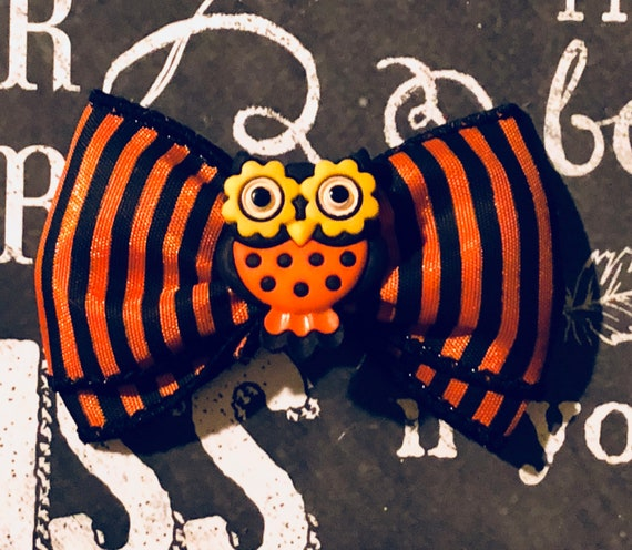 "2"" Halloween Owl Mini Bow - Dog Bows - Halloween Bows - Bows for Girls - Orange and Black Bows - Stripe Bows - Dog Hair Bows"