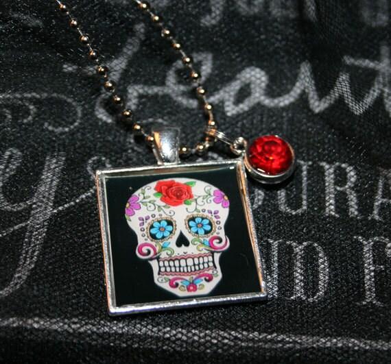 Square Sugar Skull Necklace
