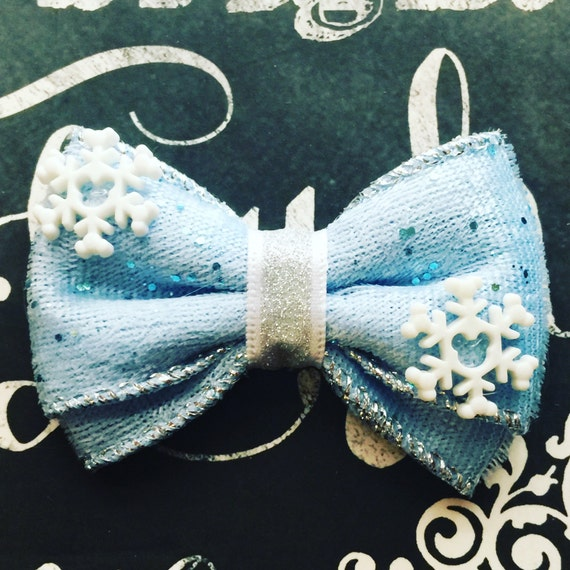 "Bows for Dogs or Girls - 2"" Mickey Snowflake Mini Bow - Mickey Mouse Holiday - Snowflakes - Holiday Bows - Dog Bows"