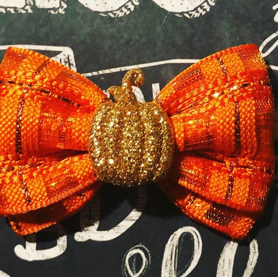 "2"" Orange Sparkle with Gold Pumpkin Mini Bow- Dog Bows - Fall Bows - Bows for Girls - Orange Bows - Pumpkins - Bows for Dogs - Bows for Fall"