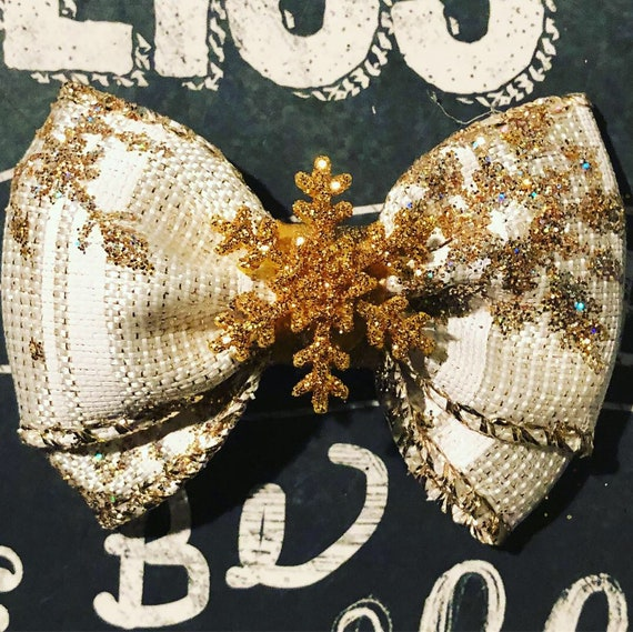 "2"" Sparkly Gold Snowflake Mini Bow- Dog Bows - Bows for Dogs  - Christmas Bows - Hair Bows for Dogs - Winter Bow - Snowflake Bow - Gold Bows"