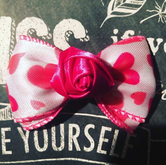 "2"" Hot Pink Rose Bud Mini Bow - Valentine's Day - Dog Bows - Bows for Girls - Baby Bows - Bow with Hearts- Valentine Bows for Dogs"