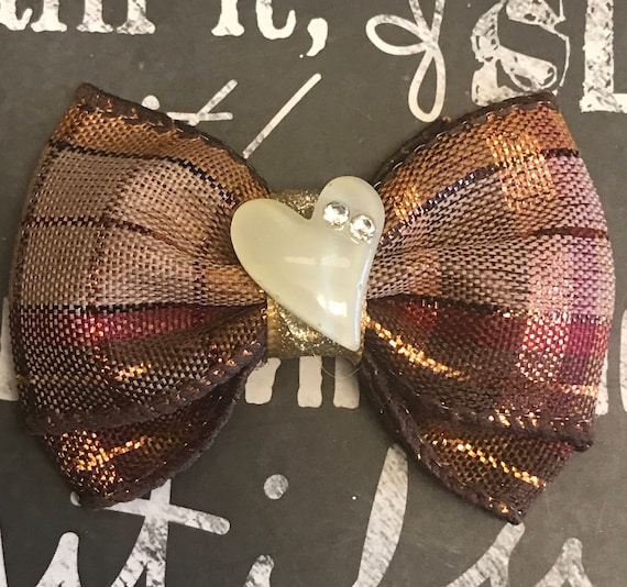"2"" Mini -Sparkly Fall Mini Bows with Cream Heart - Bows for Dogs - Bows for Girls - Fall Bows - Harvest - Autum"