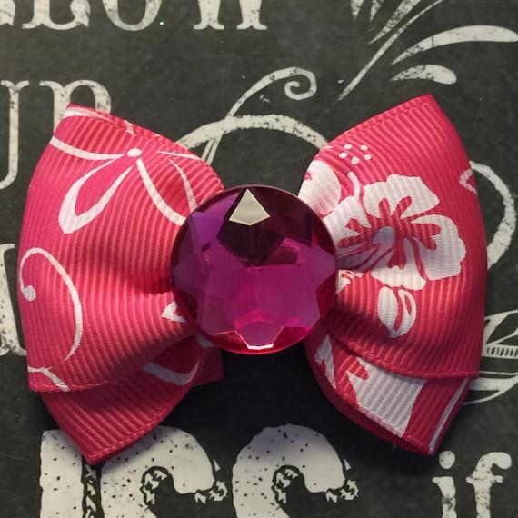 """2"""" Pink Hawaiian Print Mini Bow - Dog Bows - Bows for Dogs - Pink Bows"""