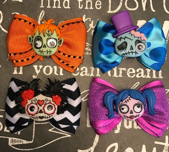 "Bows for Dogs or Girls - 2"" Zany Zombies Mini Bows for Halloween - Dog Bows - Halloween Bows - Bows for Girls"