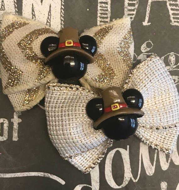 "2"" Pilgrim Mickey Mouse Thanksgiving Mini Bows - Dogs Bows - Bows for Girls - Fall Bows - Thanksgiving Bows - Harvest - Fall"