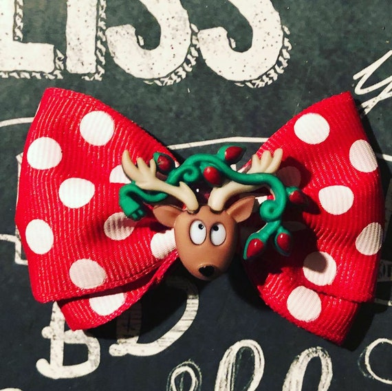 "2"" Christmas Reindeer Mini Bow - Bows for Dogs - Holiday Bows - Dog Bows - Christmas Bows - Red Bows - Bows - Bows for Girls - Holiday Bows"