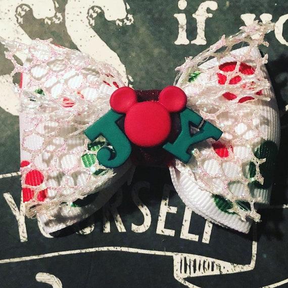 "2"" Christmas Joy Polka Dot Mickey Mouse Mini Bow- Dog Bows - Bows for Dogs  - Christmas Bows - Hair Bows for Dogs - Mickey Mouse Bows"