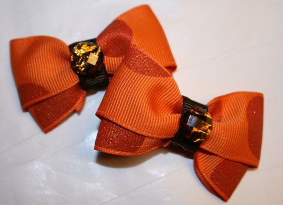 "2"" Orange and Brown Sparkle Mini Bow Set - Dog Bows - Bows for Fall - Dog Bows for Fall - Hair Bows for Dogs - Bows for Thanksgiving"