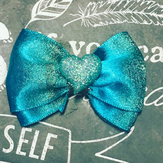 "Bows for Dogs or Girls - 2"" Sparkly Turquoise Mini Bow - Dog Bows - Summer Bows - Bows for Girls - Sparkly Bows - Dog Hair Bows"