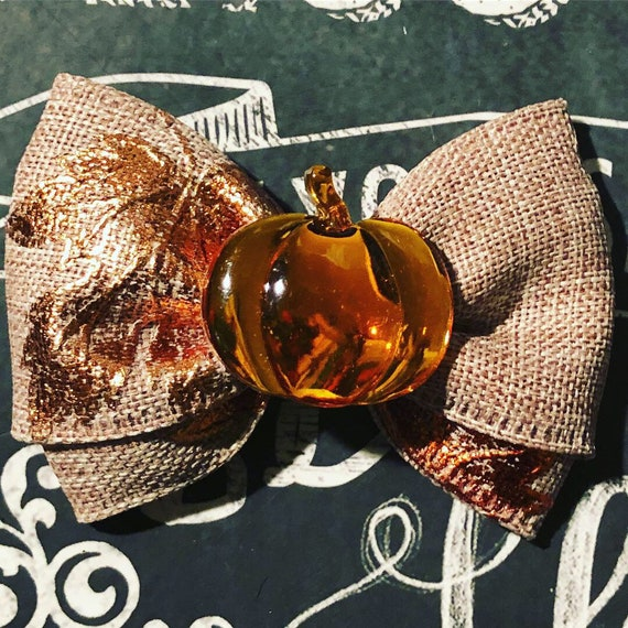 "2"" Autumn Sparkle Pumpkin Mini Bow- Dog Bows - Fall Bows - Bows for Girls - Autumn Bows - Pumpkin Bows - Bows for Dogs - Bows for Fall"