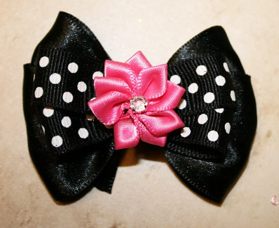 "2"" The Tess Collection - Black and White Polka Dot Mini Bow"