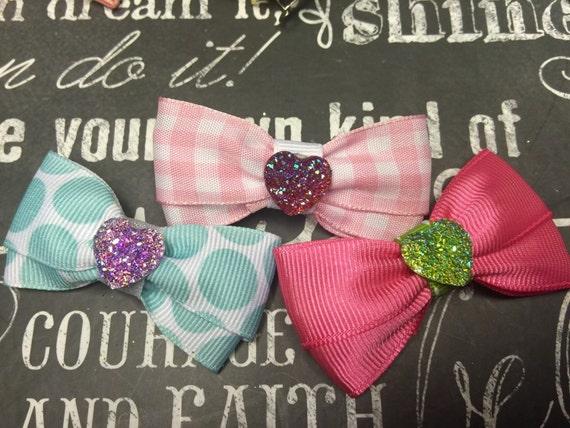 Sparkly Heart Mini Bows