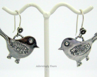 Earrings, Sterling Silver, Birds , Hand Stamped
